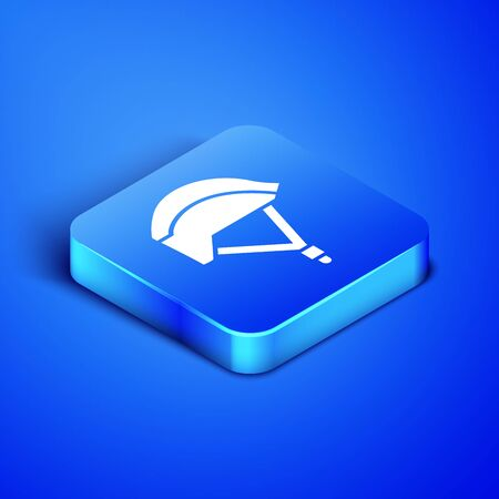 Isometric Bicycle helmet icon isolated on blue background. Extreme sport. Sport equipment. Blue square button. Vector Illustration Illustration