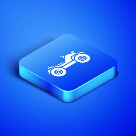 Isometric All Terrain Vehicle or ATV motorcycle icon isolated on blue background. Quad bike. Extreme sport. Blue square button. Vector Illustration