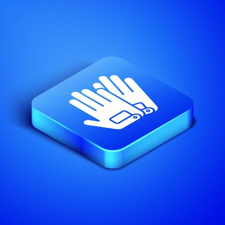 Isometric Gloves icon isolated on blue background. Extreme sport. Sport equipment. Blue square button. Vector Illustration
