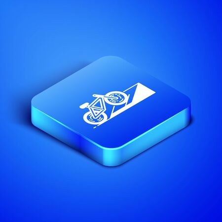 Isometric Bicycle on street ramp icon isolated on blue background. Skate park. Extreme sport. Sport equipment. Blue square button. Vector Illustration Illusztráció