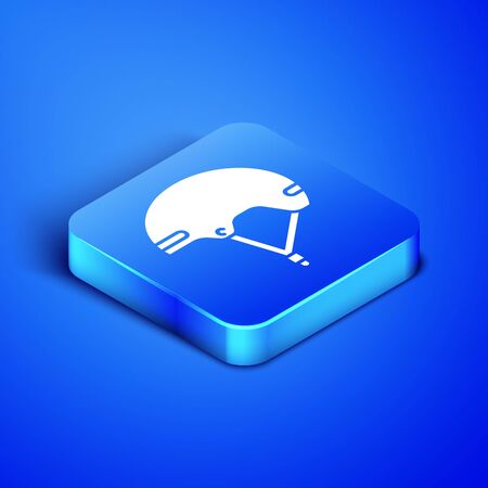 Isometric Helmet icon isolated on blue background. Extreme sport. Sport equipment. Blue square button. Vector Illustration Illustration