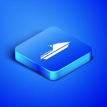 Isometric Jet ski icon isolated on blue background. Water scooter. Extreme sport. Blue square button. Vector Illustration  イラスト・ベクター素材