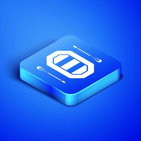 Isometric Rafting boat icon isolated on blue background. Inflatable boat with paddles. Water sports, extreme sports, holiday, vacation. Blue square button. Vector Illustration