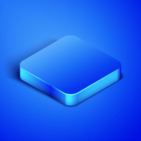 Isometric Skateboard trick icon isolated on blue background. Extreme sport. Sport equipment. Blue square button. Vector Illustration
