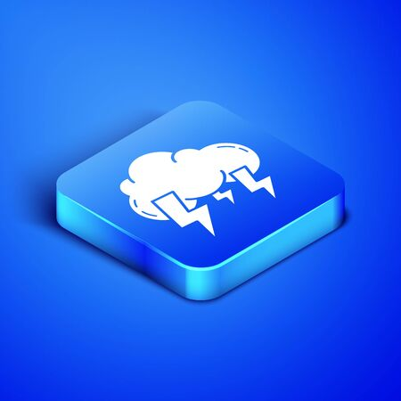 Isometric Storm icon isolated on blue background. Cloud and lightning sign. Weather icon of storm. Blue square button. Vector Illustration Illustration