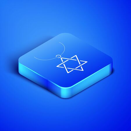 Isometric Star of David necklace on chain icon isolated on blue background. Jewish religion symbol. Symbol of Israel. Jewellery and accessory. Blue square button. Vector Illustration