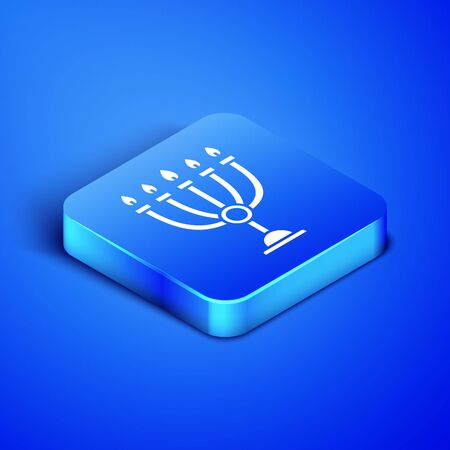 Isometric Hanukkah menorah icon isolated on blue background. Hanukkah traditional symbol. Holiday religion, jewish festival of Lights. Blue square button. Vector Illustration Ilustracja
