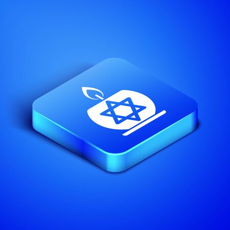 Isometric Burning candle in candlestick with star of david icon isolated on blue background. Cylindrical candle stick with burning flame. Blue square button. Vector Illustration
