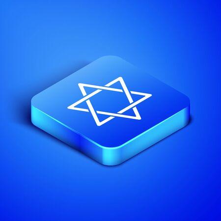 Isometric Star of David icon isolated on blue background. Jewish religion symbol. Symbol of Israel. Blue square button. Vector Illustration
