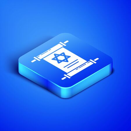 Isometric Torah scroll icon isolated on blue background. Jewish Torah in expanded form. Star of David symbol. Old parchment scroll. Blue square button. Vector Illustration