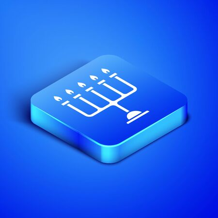 Isometric Hanukkah menorah icon isolated on blue background. Hanukkah traditional symbol. Holiday religion, jewish festival of Lights. Blue square button. Vector Illustration Zdjęcie Seryjne - 131091677
