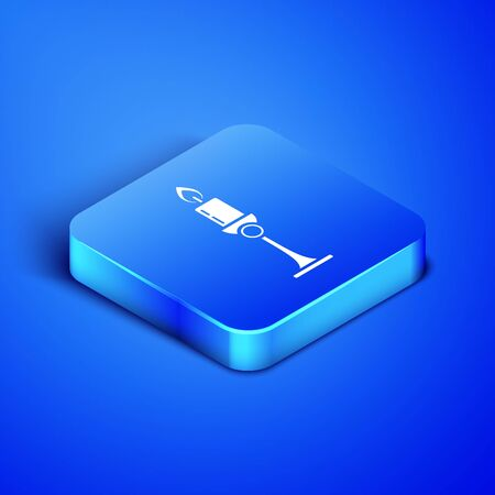 Isometric Burning candle in candlestick icon isolated on blue background. Old fashioned lit candle. Cylindrical candle stick with burning flame. Blue square button. Vector Illustration Zdjęcie Seryjne - 131091678