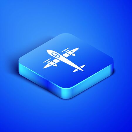 Isometric Old retro vintage plane icon isolated on blue background. Flying airplane icon. Airliner sign. Blue square button. Vector Illustration