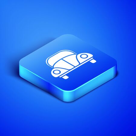 Isometric Car beetle icon isolated on blue background. Blue square button. Vector Illustration