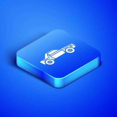 Isometric Sedan car icon isolated on blue background. Blue square button. Vector Illustration