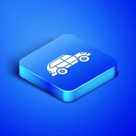 Isometric Hatchback car icon isolated on blue background. Blue square button. Vector Illustration Illustration