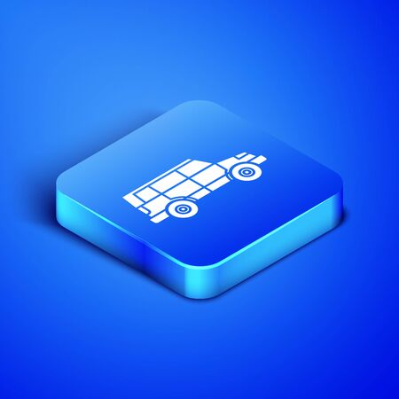 Isometric Off road car icon isolated on blue background. Blue square button. Vector Illustration