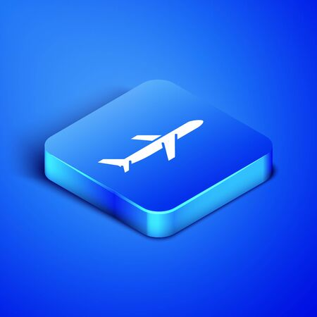 Isometric Plane icon isolated on blue background. Flying airplane icon. Airliner sign. Blue square button. Vector Illustration