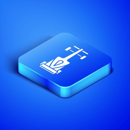 Isometric Formula race car icon isolated on blue background. Blue square button. Vector Illustration