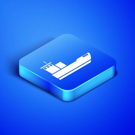 Isometric Cargo ship icon isolated on blue background. Blue square button. Vector Illustration