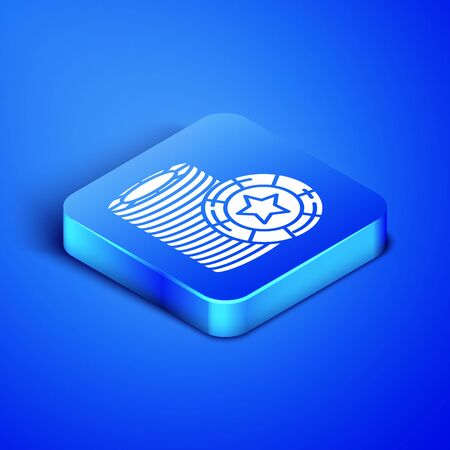 Isometric Casino chips icon isolated on blue background. Casino gambling. Blue square button. Vector Illustration