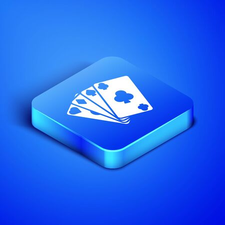 Isometric Playing cards icon isolated on blue background. Casino gambling. Blue square button. Vector Illustration  イラスト・ベクター素材