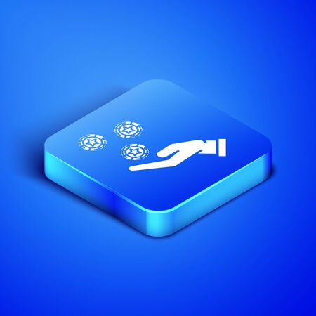 Isometric Hand holding casino chips icon isolated on blue background. Casino gambling. Blue square button. Vector Illustration  イラスト・ベクター素材