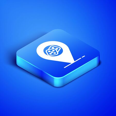 Isometric Casino location icon isolated on blue background. Game dice icon. Blue square button. Vector Illustration
