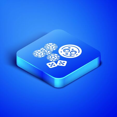 Isometric Casino chips, game dice and glass of whiskey with ice cubes icon isolated on blue background. Casino poker. Blue square button. Vector Illustration