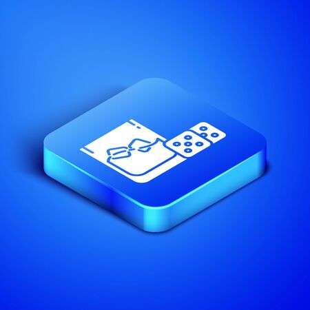 Isometric Game dice and glass of whiskey with ice cubes icon isolated on blue background. Casino gambling. Blue square button. Vector Illustration  イラスト・ベクター素材