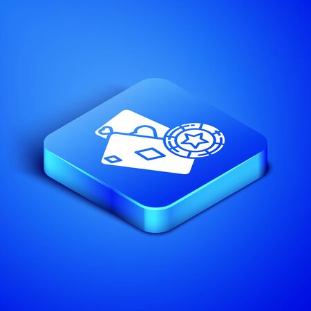 Isometric Casino chip and playing cards icon isolated on blue background. Casino poker. Blue square button. Vector Illustration  イラスト・ベクター素材