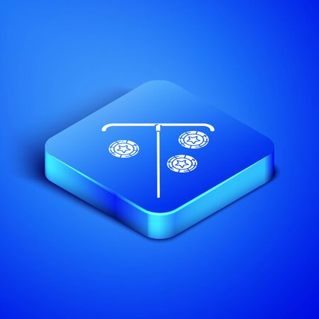 Isometric Stick for chips icon isolated on blue background. Casino gambling. Blue square button. Vector Illustration