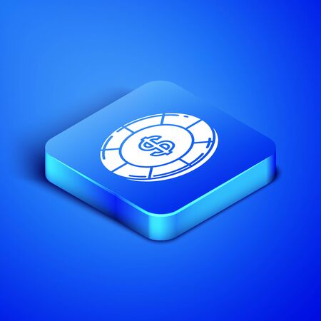 Isometric Casino chip with dollar symbol icon isolated on blue background. Casino gambling. Blue square button. Vector Illustration
