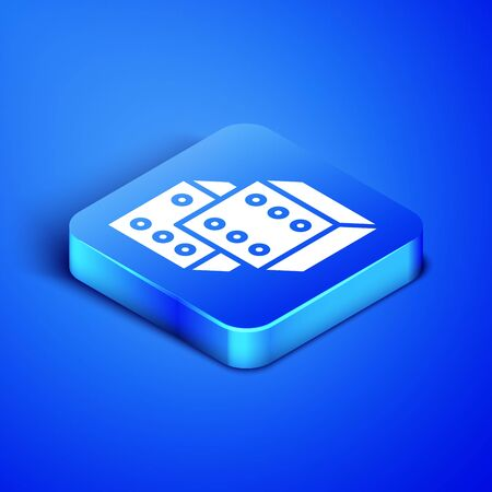 Isometric Game dice icon isolated on blue background. Casino gambling. Blue square button. Vector Illustration Иллюстрация
