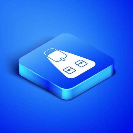 Isometric School backpack icon isolated on blue background. Blue square button. Vector Illustration