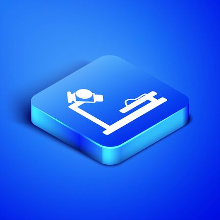 Isometric Microscope icon isolated on blue background. Chemistry, pharmaceutical instrument, microbiology magnifying tool. Blue square button. Vector Illustration