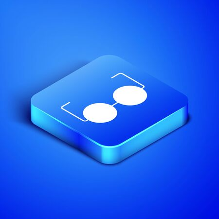 Isometric Glasses icon isolated on blue background. Eyeglass frame symbol. Blue square button. Vector Illustration Иллюстрация
