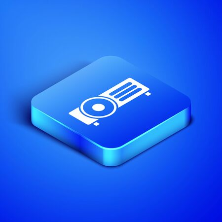 Isometric Presentation, movie, film, media projector icon isolated on blue background. Blue square button. Vector Illustration