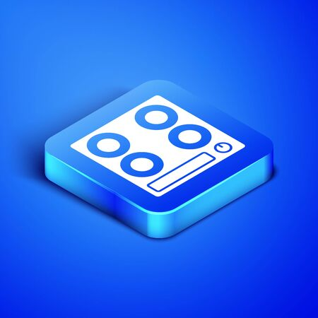 Isometric Gas stove icon isolated on blue background. Cooktop sign. Hob with four circle burners. Blue square button. Vector Illustration