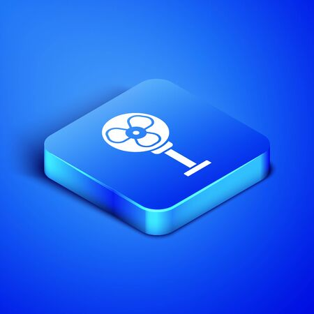 Isometric Electric fan icon isolated on blue background. Blue square button. Vector Illustration