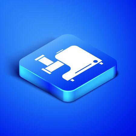 Isometric Kitchen meat grinder icon isolated on blue background. Blue square button. Vector Illustration Ilustração