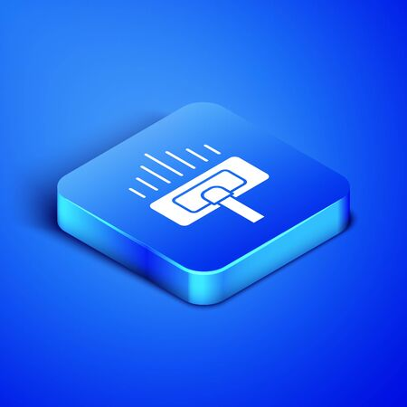 Isometric Cleaning service icon isolated on blue background. Vacuum cleaner head in circle, carpet cleaning. Blue square button. Vector Illustration  イラスト・ベクター素材