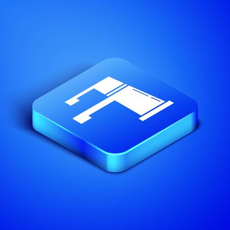 Isometric Water tap icon isolated on blue background. Blue square button. Vector Illustration