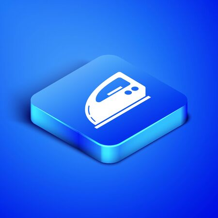 Isometric Electric iron icon isolated on blue background. Steam iron. Blue square button. Vector Illustration