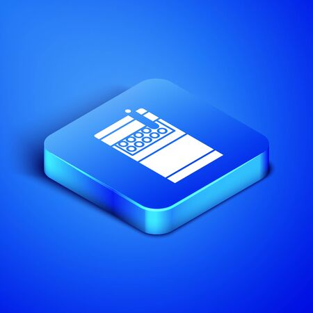 Isometric Open cigarettes pack box icon isolated on blue background. Cigarettes pack. Blue square button. Vector Illustration Stock fotó - 131125782