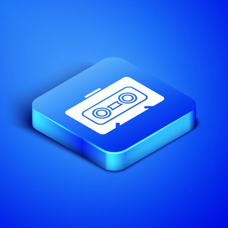 Isometric Retro audio cassette tape icon isolated on blue background. Blue square button. Vector Illustration