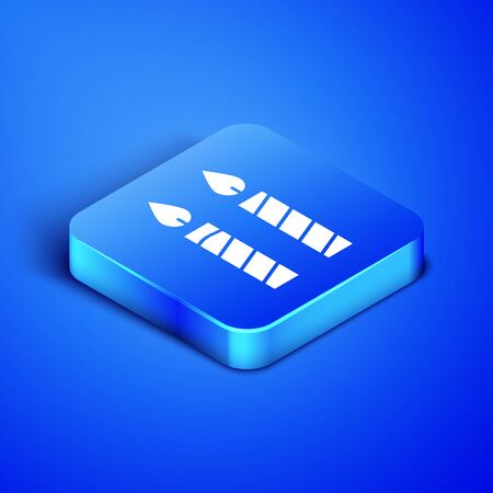 Isometric Birthday cake candles icon isolated on blue background. Blue square button. Vector Illustration
