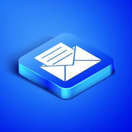 Isometric Envelope with invitation card icon isolated on blue background. Blue square button. Vector Illustration Ilustracja