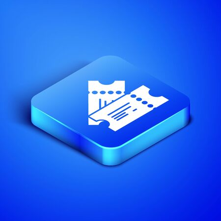 Isometric Cinema ticket icon isolated on blue background. Blue square button. Vector Illustration Иллюстрация