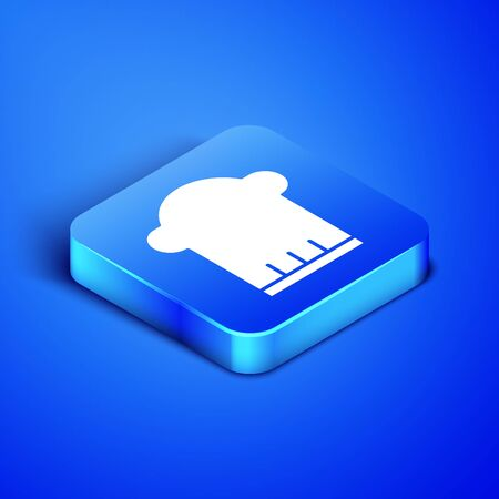 Isometric Chef hat icon isolated on blue background. Cooking symbol. Cooks hat. Blue square button. Vector Illustration